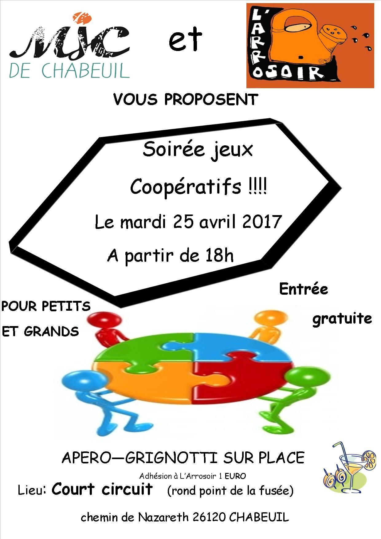 SOIRÉE JEUX COOPÉRATIFS MARDI 25 AVRIL A 18H